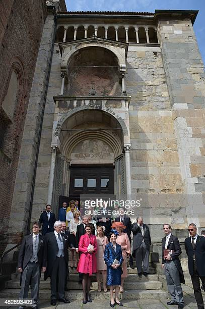 Members of the Dutch Royal family leave the cathedral of Piacenza at the end of the baptism of the Netherlands' princess Cecilia Johanna Maria...