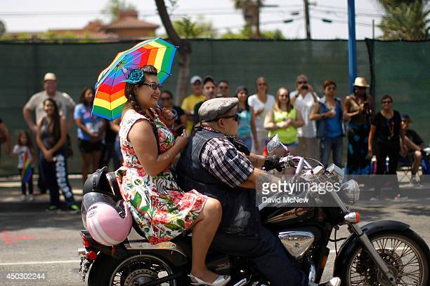 Members of the Dykes on Bikes lesbian motorcycle club ride in the LA Pride Parade on June 8 2014 in West Hollywood California The LA Pride Parade and...