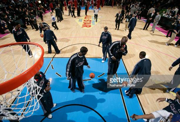 Members of the Eastern Conference All-Star team warm-up during the 2007 NBA All-Star Game on February 18, 2007 at the Thomas & Mack Center in Las...