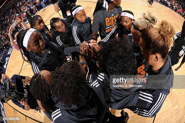 Members of the Eastern Conference AllStars huddle before the 2014 Boost Mobile WNBA AllStar Game on July 19 2014 at US Airways Center in Phoenix...