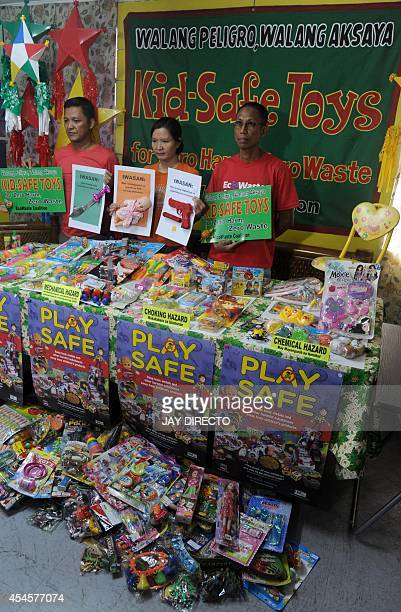 Members of the EcoWaste Coalition a waste and pollution watchdog campaign for 'KidSafe Toys for Zero Harm Zero Waste' in Manila on September 4 2014...