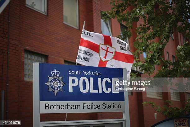Members of the EDL hold a demonstration calling for the resignation of South Yorkshire Police and Crime Commissioner Shaun Wright outside the police...
