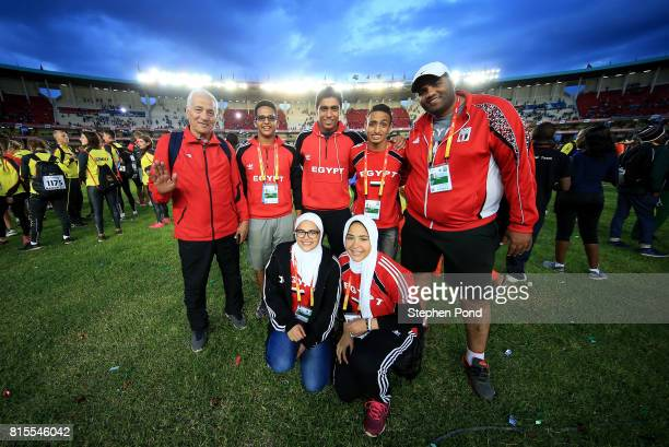 Members of the Egypt team take part in the closing ceremony during day five of the IAAF U18 World Championships on July 16 2017 in Nairobi Kenya
