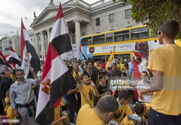 Members of The Egyptian Irish AntiCoup Forum protest on O'Connell Street Dublin