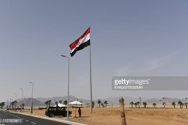 Members of the Egyptian Special Forces stand guard outside the International Congress Centre on February 24 ahead of first joint European Union and...