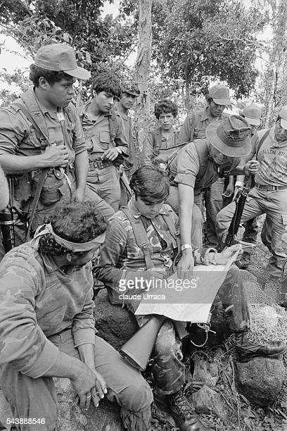 Members of the El Salvadoran army during an operation against guerrillas in the Morazan region