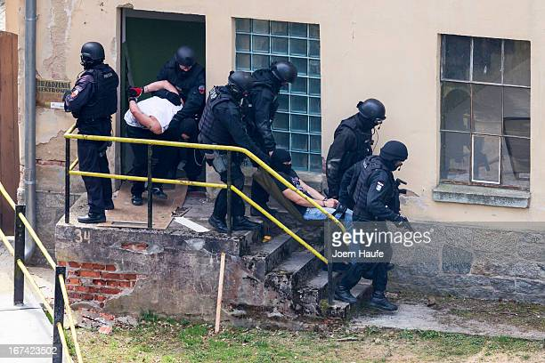 Members of the elite German national SEK police special forces and their Polish counterparts the SPAP demonstrate capabilities by foiling a staged...