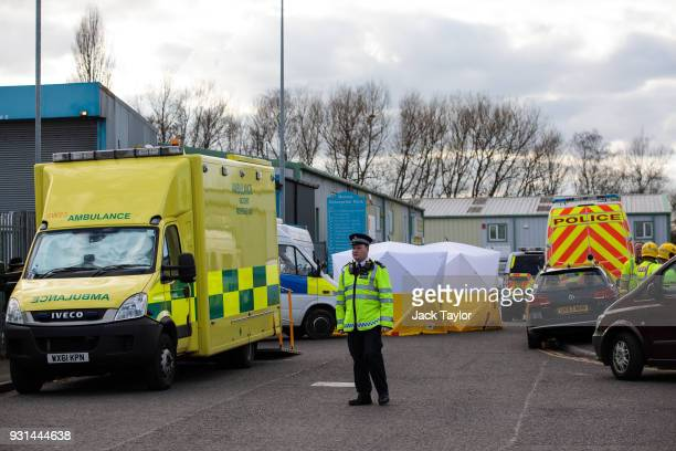 Members of the emergency services on the scene outside a vehicle recovery centre as investigations continue into the poisoning of Sergei Skripal on...