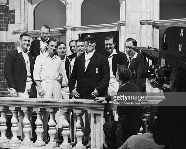 Members of the England Cricket Test Team posing for the cameras playing parts in the new Terence Rattigan film 'The Final Test' Alec Bedser Cyril...
