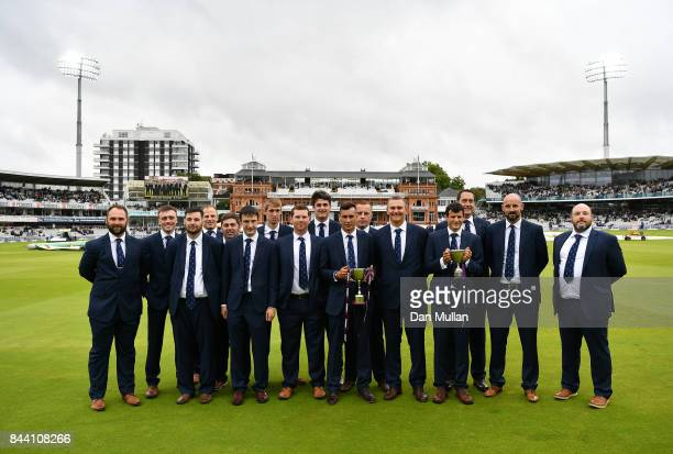 Members of the England Disability Cricket team pose for a group photo during day two of the 3rd Investec Test Match between England and the West...