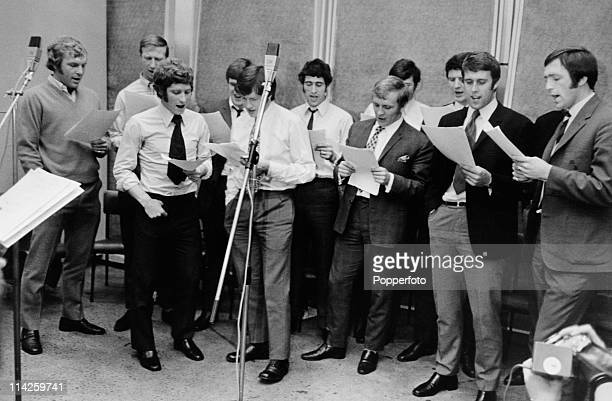 Members of the England football squad recording their World Cup song entitled Back Home and six pop ballads for an LP album to benefit their World...