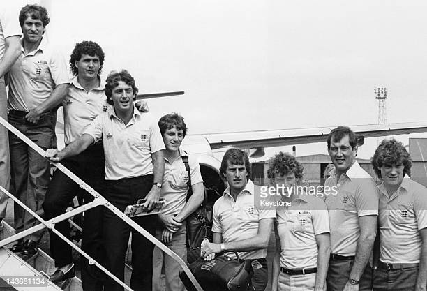 Members of the England football team at an airport 1982 Left to right Kenny Sansom Steve Foster Trevor Francis Steve Coppell Ray Clemence Graham Rix...