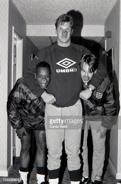 Members of the England football team Ian Wright, Chris Woods and Paul Merson pose in noses for Red Nose Day 1993, England.