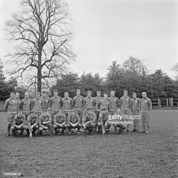 Members of the England football team in training, UK, April 1967. From left to right Harold Shepherdson, George Cohen, Bobby Charlton, Roger Hunt,...