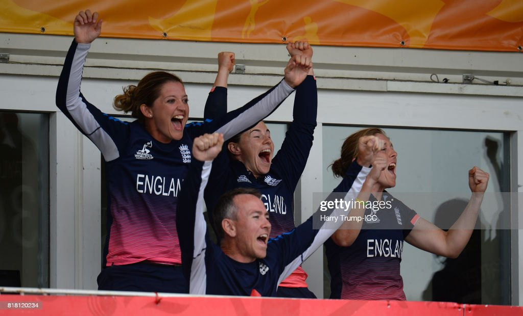 Members of the England side celebrate victory during the ICC Women's World Cup 2017 Semi-Final match between England and South Africa at The County Ground on July 18, 2017 in Bristol, England.