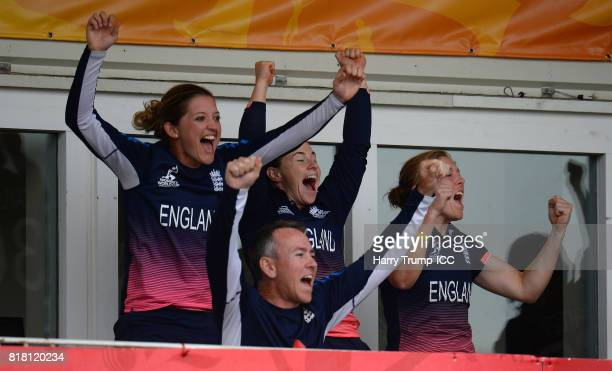 Members of the England side celebrate victory during the ICC Women's World Cup 2017 SemiFinal match between England and South Africa at The County...