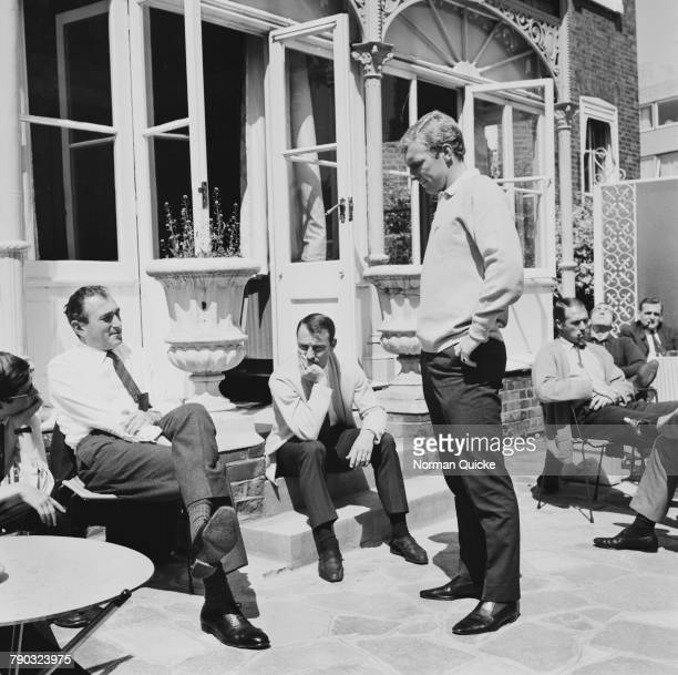 Members of the England team at the Hendon Hall Hotel Hendon London during the 1966 World Cup tournament 22nd July 1966 Jimmy Greaves has just been...