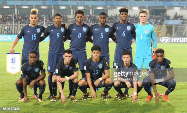 Members of the England team pose before the quarterfinal football match between USA and England in the FIFA U17 World Cup at the Jawaharlal Nehru...