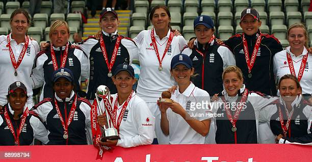 Members of The England Team that retained The Ashes after The 4th Day of The England Women v Australia Test Match played at New Road on July 13, 2009...