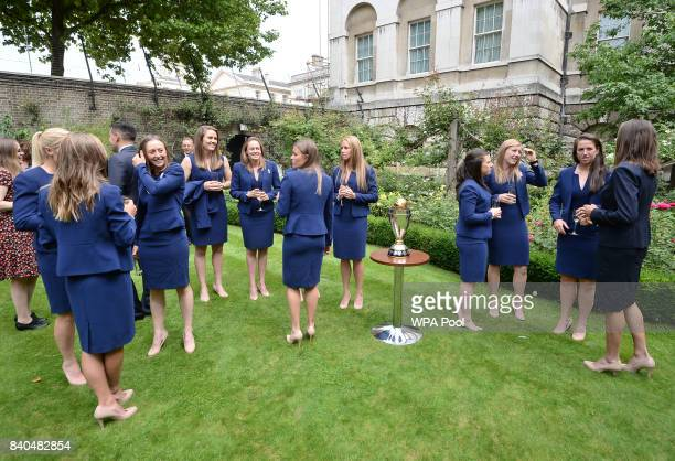 Members of the England Women's Cricket team attend a reception at 10 Downing Street on August 29 2017 in London England The England Women's Rugby...