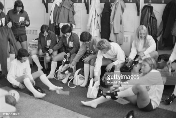 Members of the England Women's football team in the changing room at Wembley Stadium in London, England, 15th November 1972.