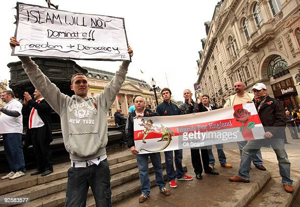 Members of the English Defence League and other proEnglish organisations stage a demonstration in Piccadilly Circus on October 31 2009 in London...
