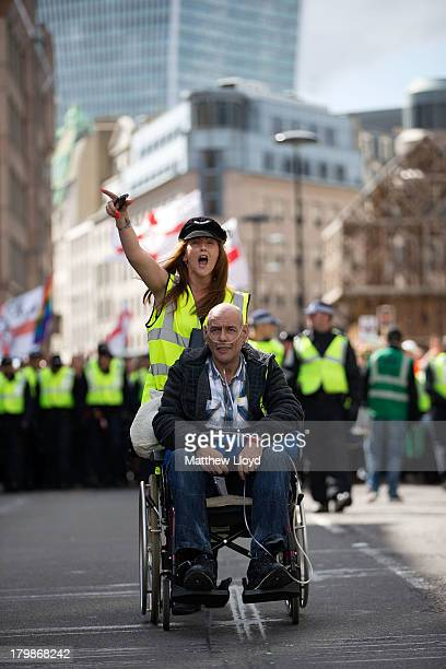 Members of the English Defence League arrive at a rally at Aldgate on September 7 2013 in London England The EDL farright organisation have had...