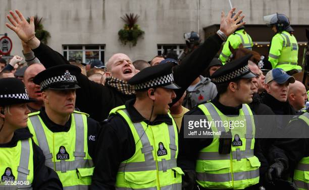 Members of the English Defence League demonstrate in Leeds town centre on October 31 2009 in Leeds England The English Defence League whose slogan is...