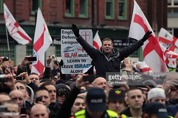 Members of the English Defence League gather for a demonstration against radical Islamism on February 5, 2011 in Luton, England. A counter...