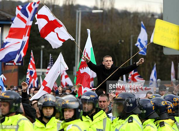 Members of The English Defence League hold a demonstration in Bolton's Victoria Square where United Against Fascism protesters also held a rally on...