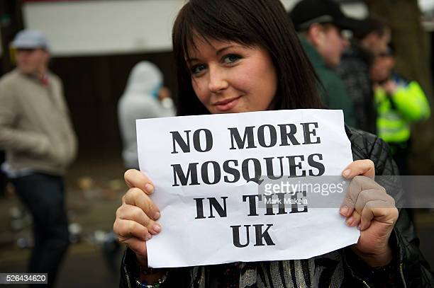 Members of the English Defence League protest in Luton, Hertfordshire, England on February 5, 2011. Approximately 3,000 protestors gathered for the...