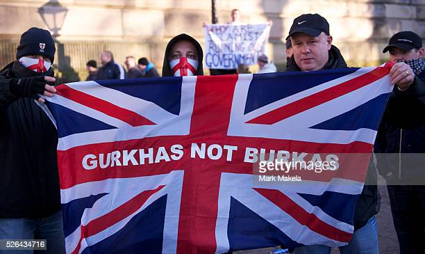 Members of the English Defence League protest in Preston, England on November 27, 2010. Approximately 1,000 protestors assembled for the rally....