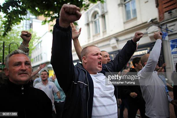Members of the English Defence League shout towards Police and antiright wing protesters during a rally on September 5 2009 in Birmingham England The...