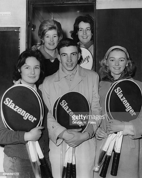 Members of the English junior tennis team at Victoria Station London on their way to France where they will take part in five tournaments on the...