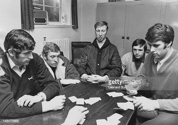 Members of the English World Cup squad playing cards while waiting for the dental checkups required before competing at the high altitudes of the...