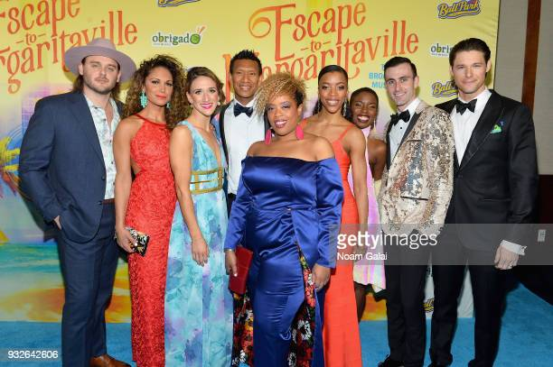 Members of the ensamble attends the Broadway premiere of 'Escape to Margaritaville' the new musical featuring songs by Jimmy Buffett at the Marquis...