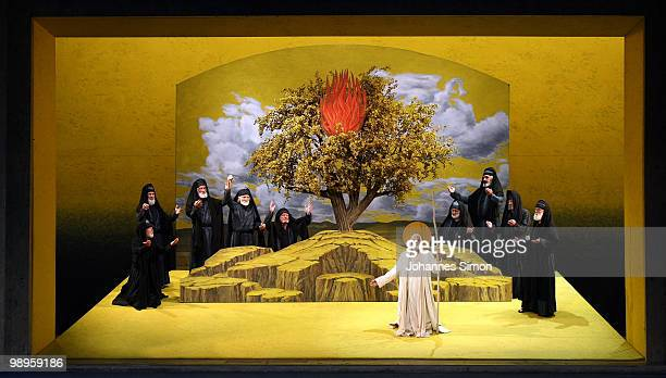 Members of the ensemble perform the tableau vivant 'God Calls Moses From The Burning Bush' during the Oberammergau passionplay 2010 final dress...