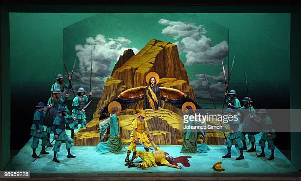 Members of the ensemble perform the tableau vivant 'The Violent Attack At The High Place Of Gibeon' during the Oberammergau passionplay 2010 final...
