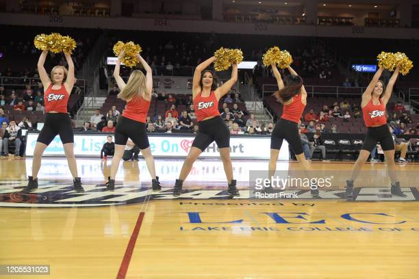 Members of the Erie BayHawks Dance Team perform a G League game between the Erie BayHawks and the Greensboro Swarm at the Erie Insurance Arena on...