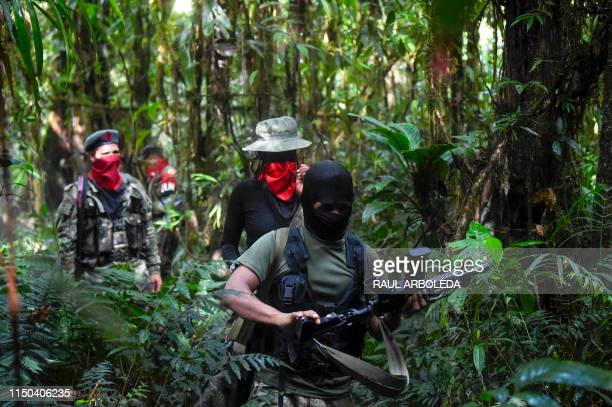 Members of the Ernesto Che Guevara front belonging to the National Liberation Army guerrillas shoot during a training in the jungle in Choco...