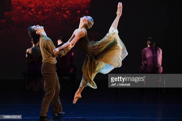 Members of the Estonian National Ballet perform during a dress rehearsal at the Tramway on November 16, 2018 in Glasgow, Scotland. The Estonian...