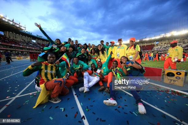Members of the Ethiopia team take part in the closing ceremony during day five of the IAAF U18 World Championships on July 16 2017 in Nairobi Kenya