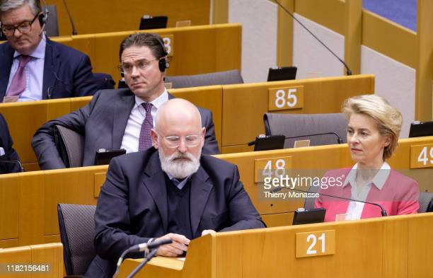 Members of the EU Commission EU Security Union Commissioner Julian King EU Jobs Growth Investment and Competitiveness Commissioner Jyrki Katainen EU...