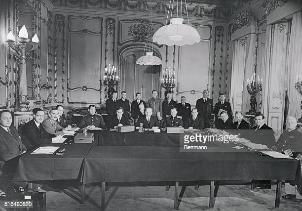 Members of the European Advisory Commission are shown as they met in London last February 18th The delegation left to right seated representing...