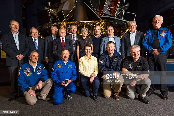 Members of the European Association of Space Explorers and the crew from the Soyuz TM11 mission JeanPierre Haignere Viktor Afanasyev Ernst...