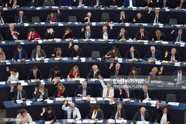 Members of the European Parliament take part in a voting session during a plenary session at the European Parliament on November 14 in Strasbourg...