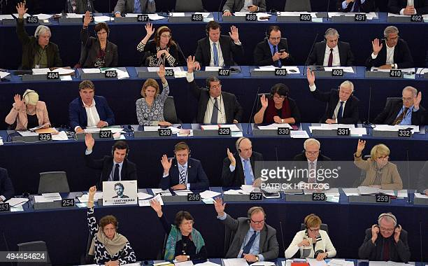 Members of the European Parliament take part in a voting session at the European Parliament in Strasbourg eastern France on October 27 2015 AFP PHOTO...