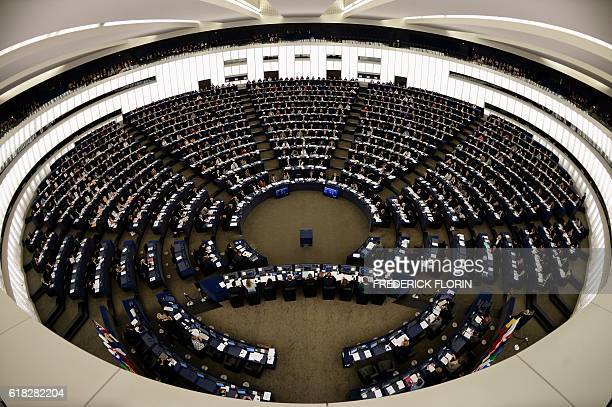 Members of the European Parliament take part in a voting session at the European Parliament in Strasbourg eastern France on October 26 2016 / AFP /...
