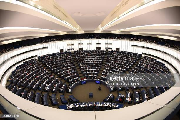 Members of the European Parliament take part in a voting session at the European Parliament in Strasbourg on January 16 2018 / AFP PHOTO / FREDERICK...