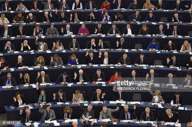 Members of the European Parliament take part in a voting session at the European Parliament on February 6 2018 in Strasbourg eastern France / AFP...